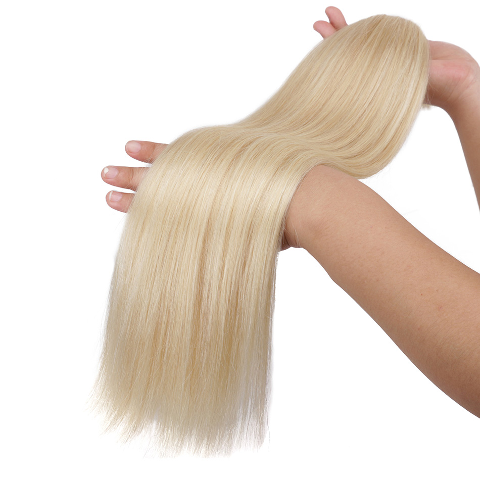 Real Beauty Mongolian Straight Hair <font><b>Bulk</b></font> Weaving For Braiding No Weft Blond Remy Human Hair <font><b>Bulk</b></font> Extensions image