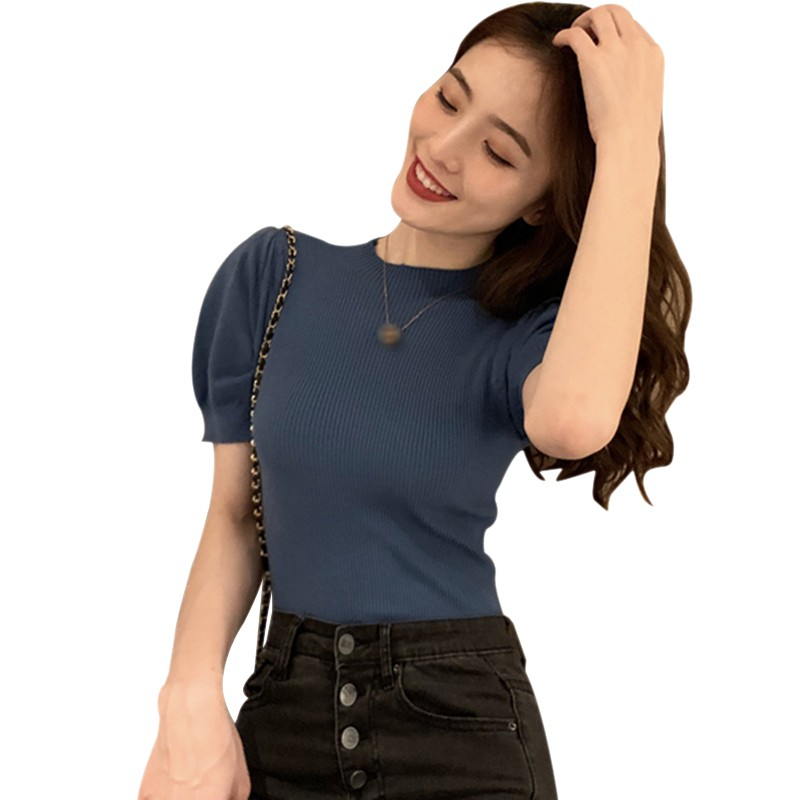 Women Slim Puff Sleeve Knitted T-Shirt Short Sleeve Solid Color Sexy Ladies Summer Tee Shirt Tops 6