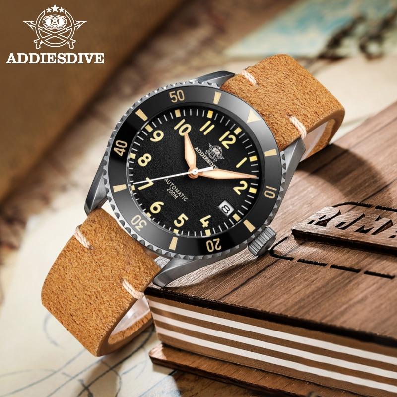 AddiesDive Роскошные пилотные мужские наручные часы сапфировые с украшением в виде кристаллов NH35 автоматические часы супер светящийся керамиче...