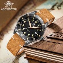 Addiesdive luxo piloto relógio masculino safira de cristal nh35 relógios automáticos super luminosa moldura cerâmica retro 200m mergulhador relógio
