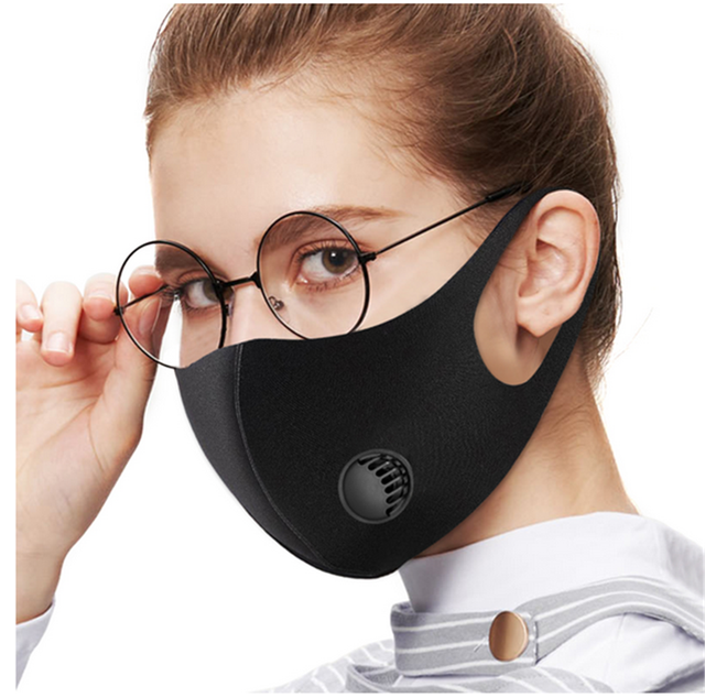 New Kpop Cotton Black Gray Pink Valve Mask Mouth Face Masks Anti PM2.5 Dust Maske Washable Reusable Mouth Cover PM2.5 Filter