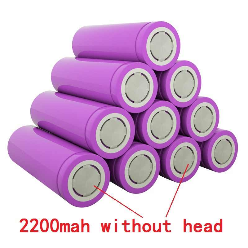 18650 bateria 2019 100% original novo 18650 3.7 v 2200 mah 18650 bateria recarregável de lítio para baterias de lanterna (sem pcb)