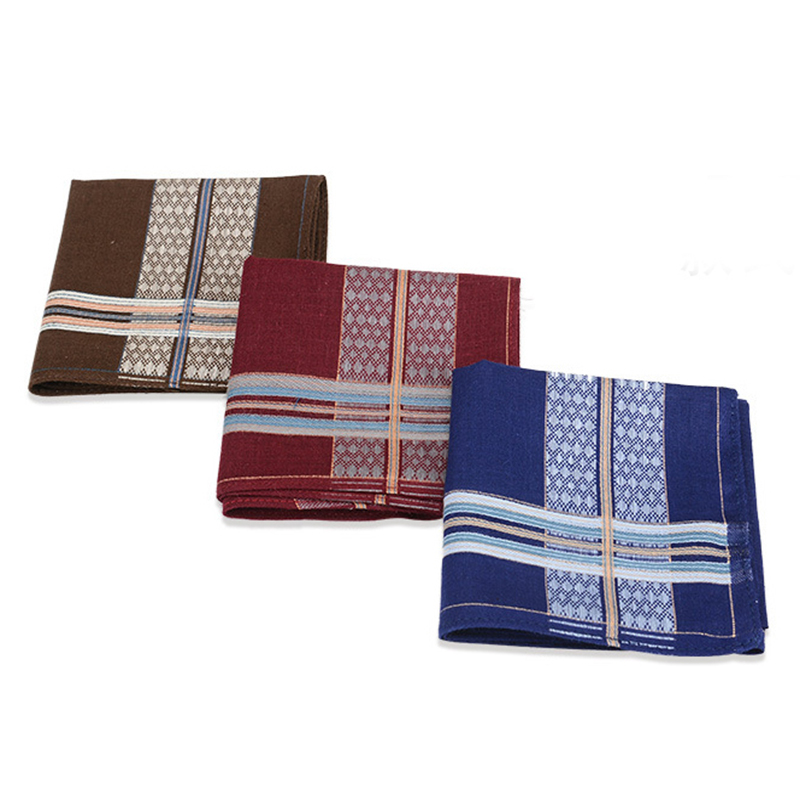 3Pcs/lot Square Plaid Stripe Handkerchiefs Men Classic Vintage Pocket Pocket Cotton Towel For Wedding Party 40*40cm Random
