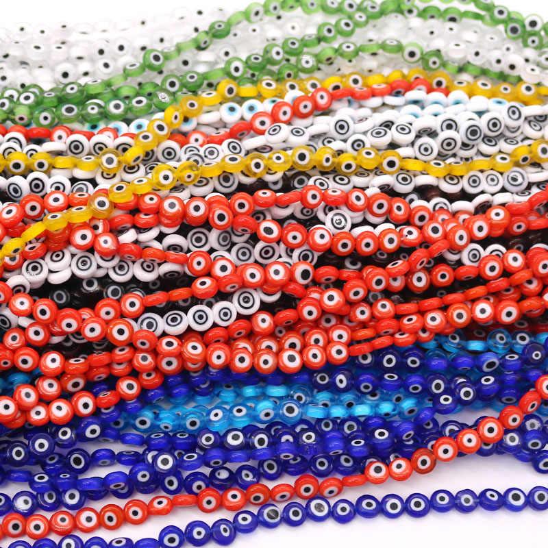8mm 47 pçs multi-color charme vidro hamsa mal olho contas pingente diy para cobra corrente pulseira colar jóias acessórios fazendo