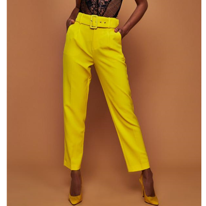 Trousers For Women With High Waist Straight Trousers Casual Elegant Fashion Office Lady White Suit Trousers Women's Yellow Pants