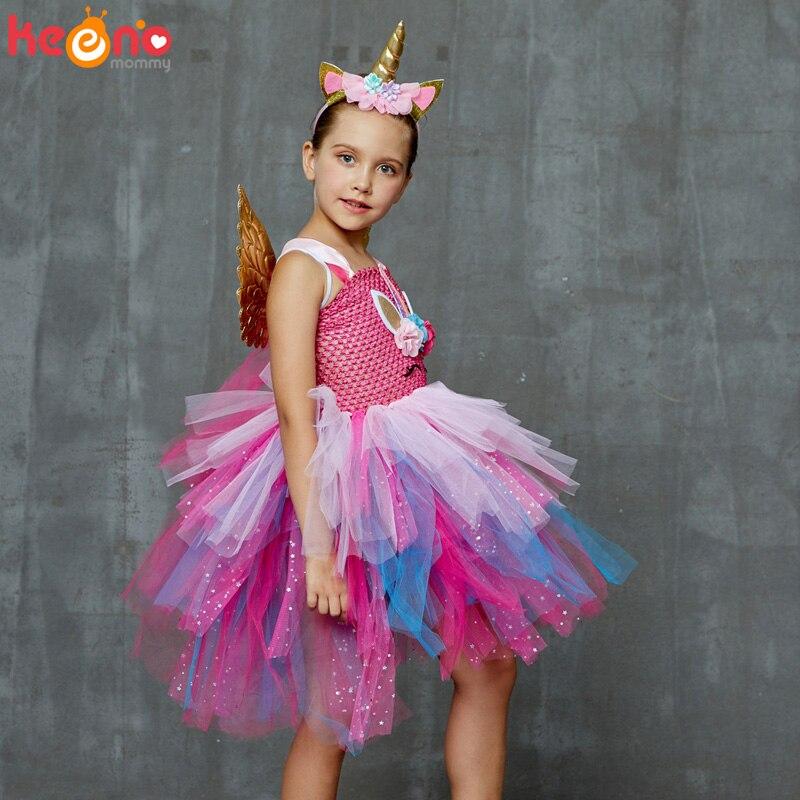 Glittery Unicorn Princess Pageant Flower Girl Tutu Dress Kids Party Costume with Headband and Wings Halloween Cosplay Girl Dress 3
