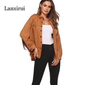 Image 3 - New Fringed long sleeve cashmere jacket spring summer women Plus Overcoat Outwear Fashion Female Warm Windproof coat