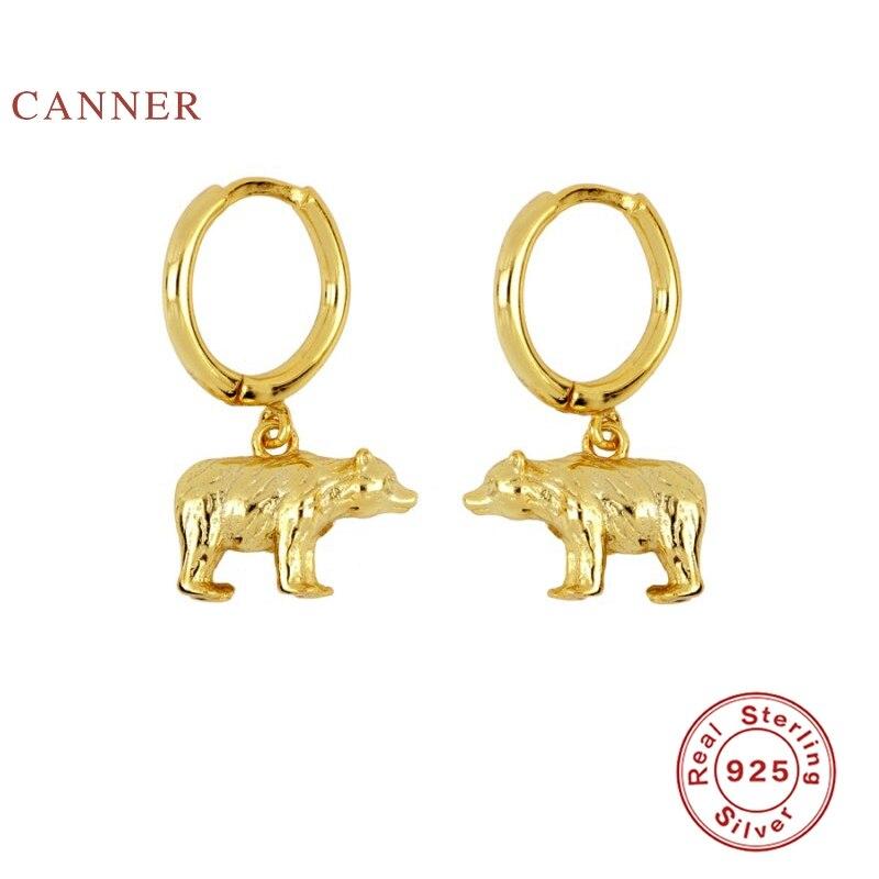 CANNER INS Wind Animal Polar Bear Earrings Hoops 925 Sterling Silver Earrings...