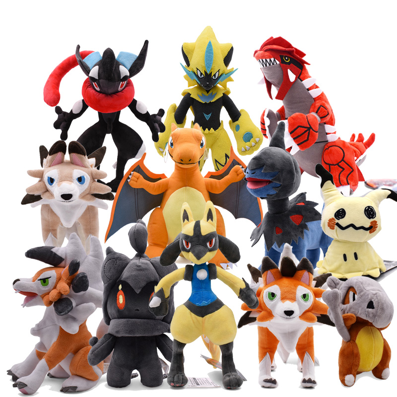 Plush Toys Charizard Cubone Mimikyu Zeraora Lycanroc Marshadow  Greninja Lucario Groudon Deino Stuffed Animal Children Doll Gift