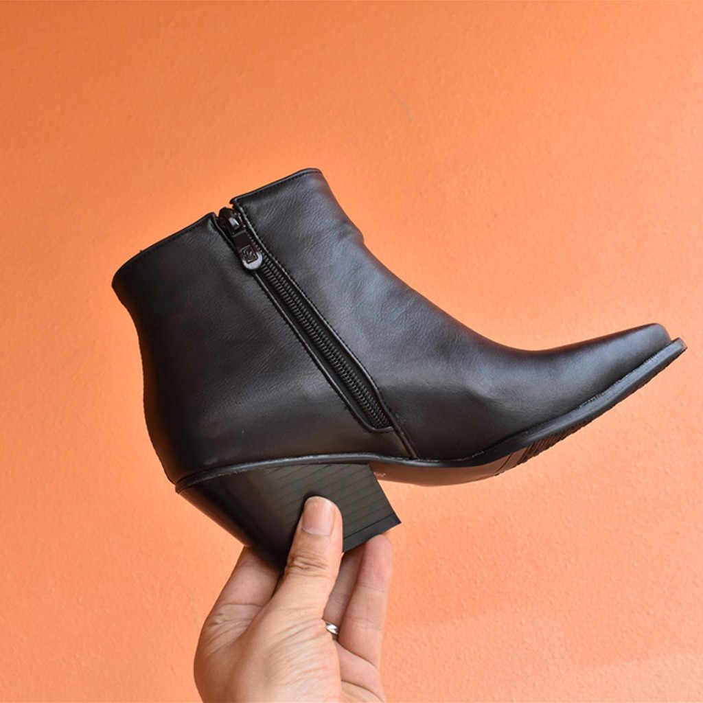 YOUYEDIAN serpent femmes bottines talon épais grande taille chaussures Knight bottes décontracté court chaussons chaussure femme 7 #3.5a1