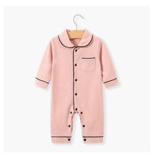 Emmababy  Baby Unisex Autumn Pajama Lapel Long Sleeves Button Open One-Piece Nightgown for Toddler Girls Boys