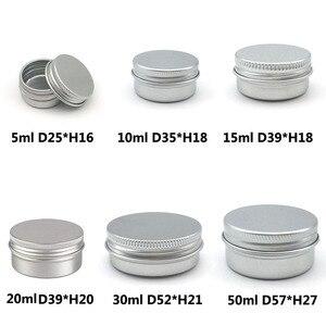 Image 2 - 50Pcs 5g 10g 15g 20g 30g 50g Aluminum Jars Empty Cosmetic Makeup Cream Lip Balm Gloss Metal Aluminum Tin Containers