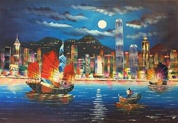 Hot Koop Handgeschilderde Moderne Mes Canvas Olieverf Hong Kong City Night Landschap Wall Art Pictures Schilderen Voor Living kamer