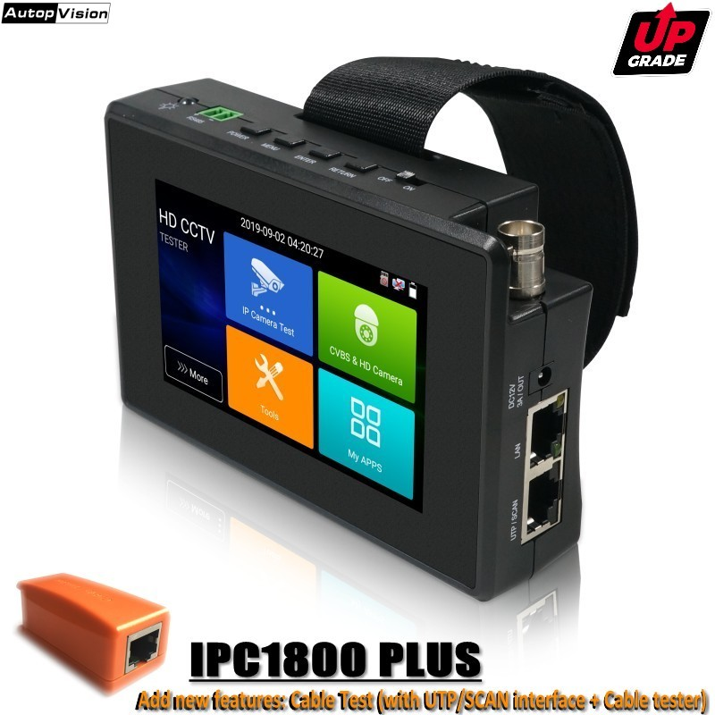 Upgrade IPC-1800 PLUS CCTV IP Camera Tester H.265 4K IP 8MP TVI 8MP CVI 8MP AHD Analog 5-in-1 Wrist CCTV Tester Monitor With WIF