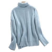 Turtleneck 100% Cashmere Pullovers Basic Sweater Women's Loose Long Sleeve Solid Twist Sweater Warm Wool Heavy Knit Base Sweater