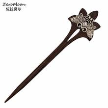 Vintage Style Metal Lotus Flower Wood Hair Sticks Women Hairpin Headwear Fashion Jewelry Hair Accessory