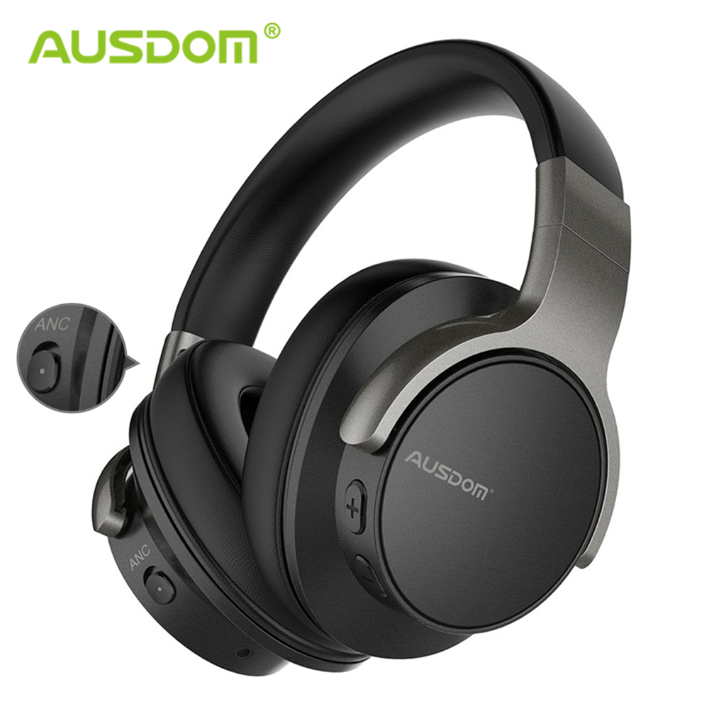 Ausdom Anc8 Active Noise Cancelling Wireless Headphones Bluetooth Headset With Super Hifi Deep Bass 20h Playtime For Travel Work Elcotronics Mobiles