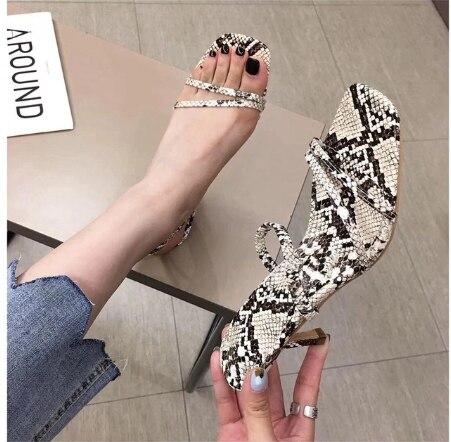 YEELOCA 2019 A001 Brand Women Sandal Fashion Snake Print Women Sandals Thin High Heels Open Toe Outdoor Slides Pumps KZ3008