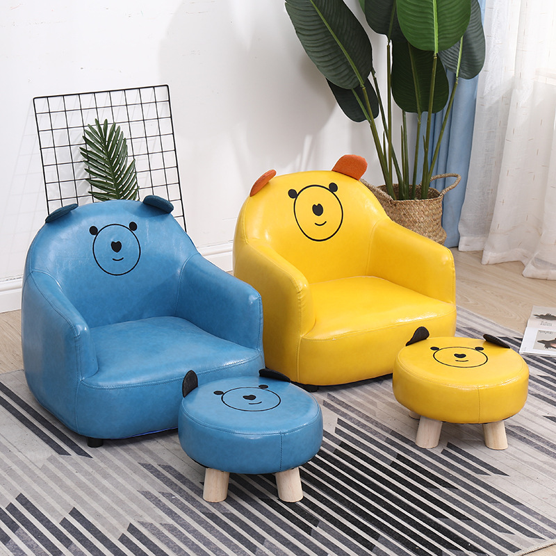 Kids Bean Bags Chairs Chaise Lounge Cartoon Sofa For Kids Baby Sofa Leather Chair Designed Furniture Tatami Chair Stool Dropship