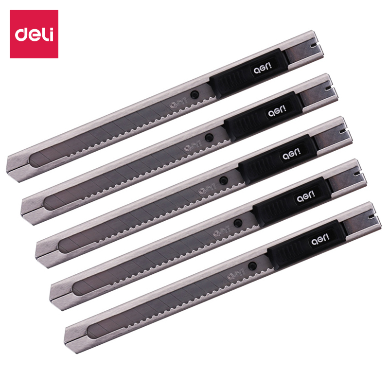 Deli 5pcs Metal Small Utility Knife Automatic Lock Paper Knives Office Supplies Silver 2058-05