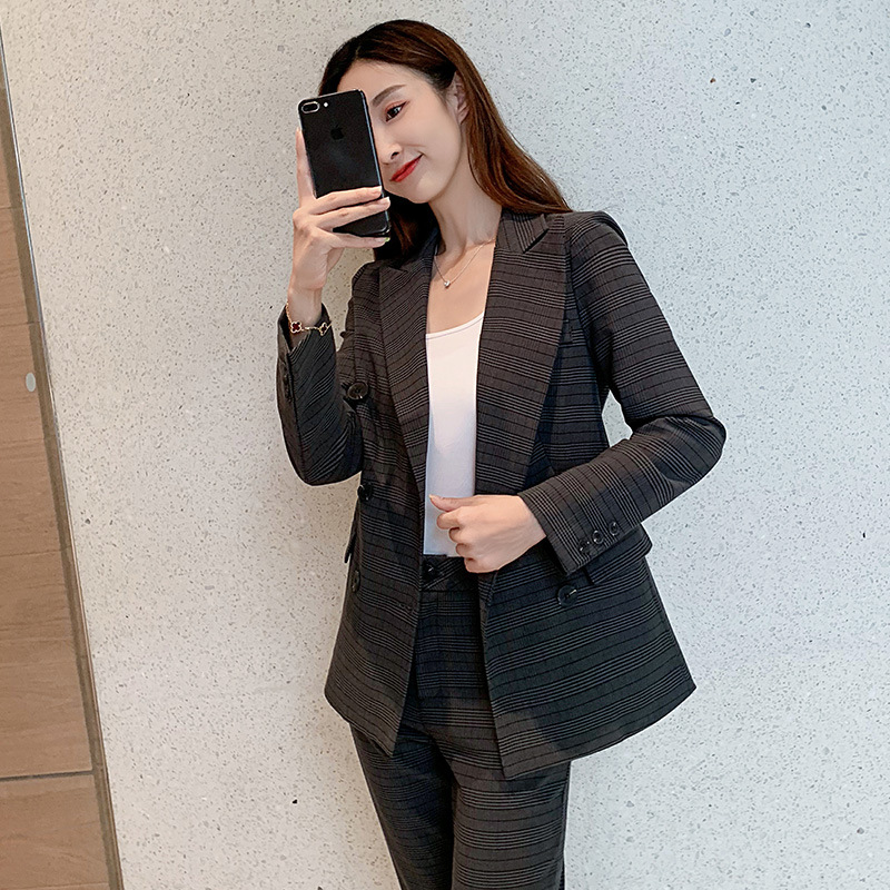 High quality professional women's suit pants suit 2019 autumn new double-breasted slim check suit Female office pants two-piece