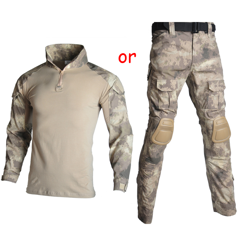 Tactical Military Uniform Suits Camouflage Shooting Hunting Shirts Pants Elbow Knee Pads CS Airsoft Paintball Clothes Sets