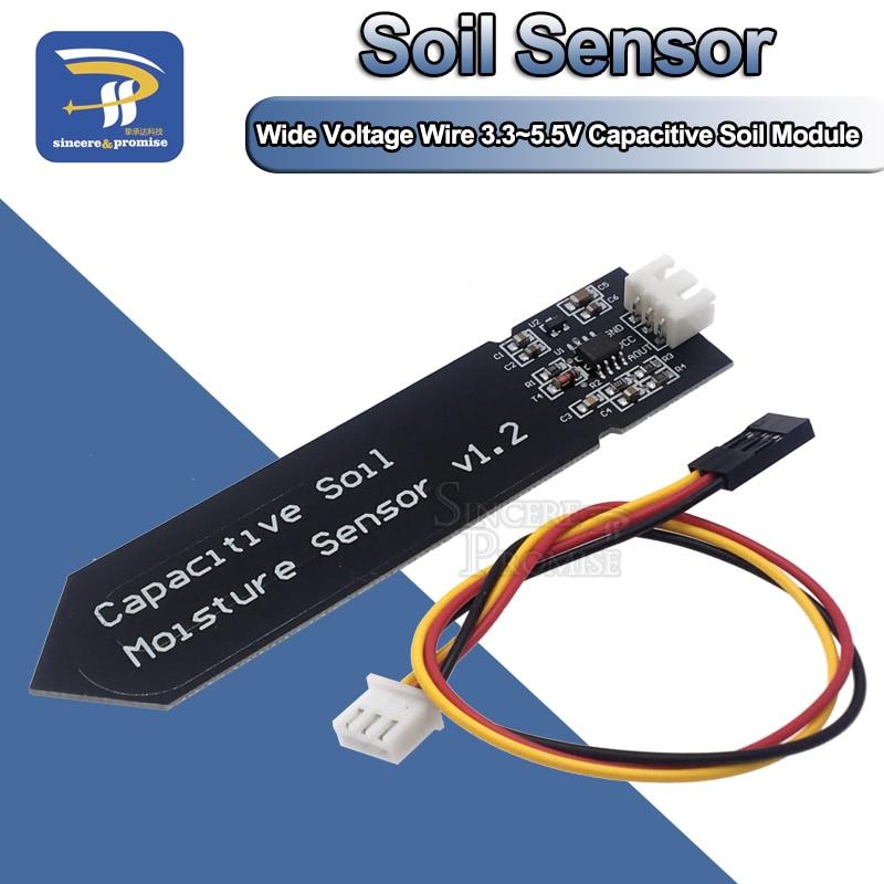 Module capacitif de capteur dhumidité du sol pas facile à corroder fil de tension large 3.3 ~ 5.5V résistant à la Corrosion avec gravité pour Arduino