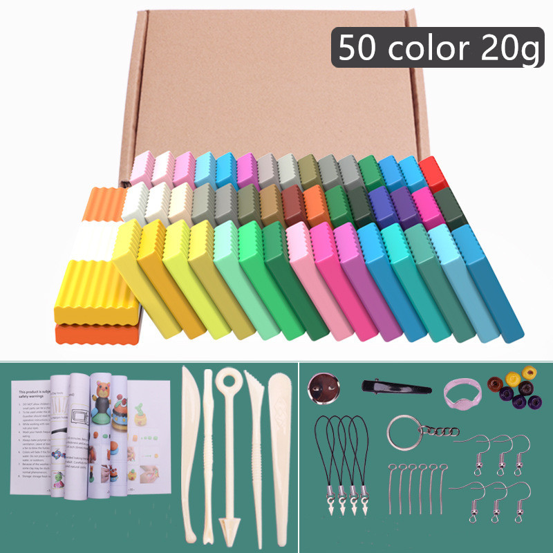 50 Color Children's Educational Toy Polymer Clay Diy Soft Molding Process Oven Baking Clay Block Birthday Gift Child Adult Toy