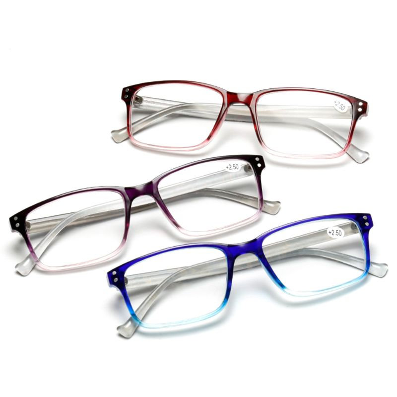 Simple Comfortable Reading Glasses Lightweight Men Women Square PC Frame Gradient Color Personality Eyewear Diopter +1.0~+4.0