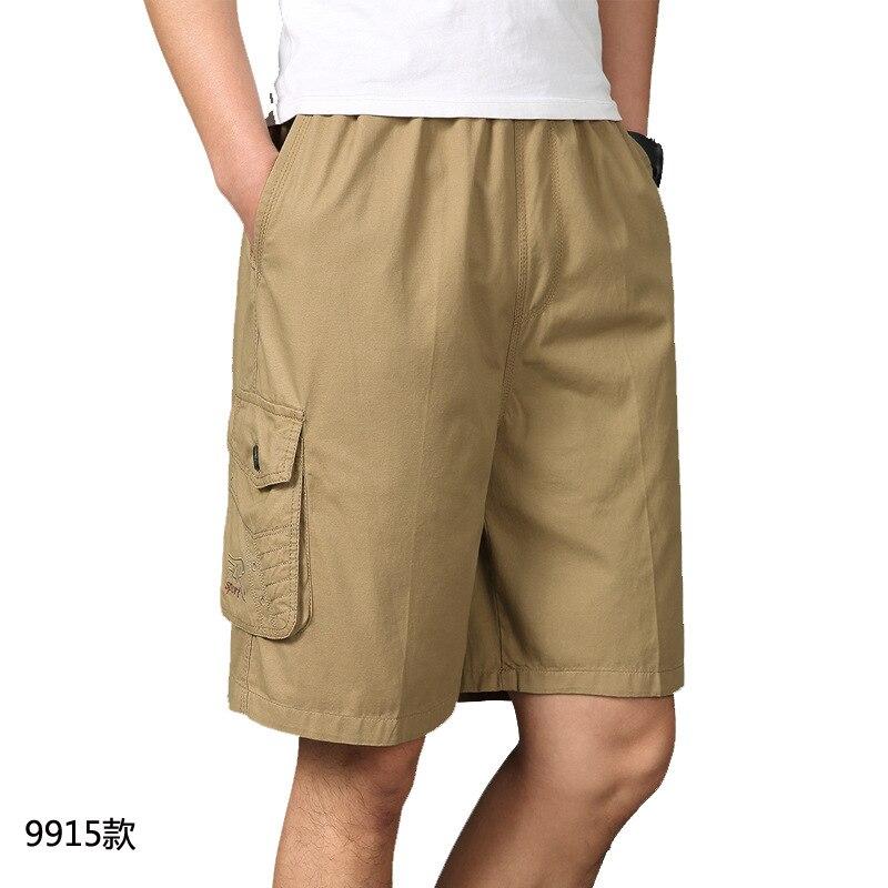 Summer Large Size MEN'S Beach Shorts Pure Cotton Elastic Waist Shorts Loose Straight Shorts Bags Workwear Shorts Men's