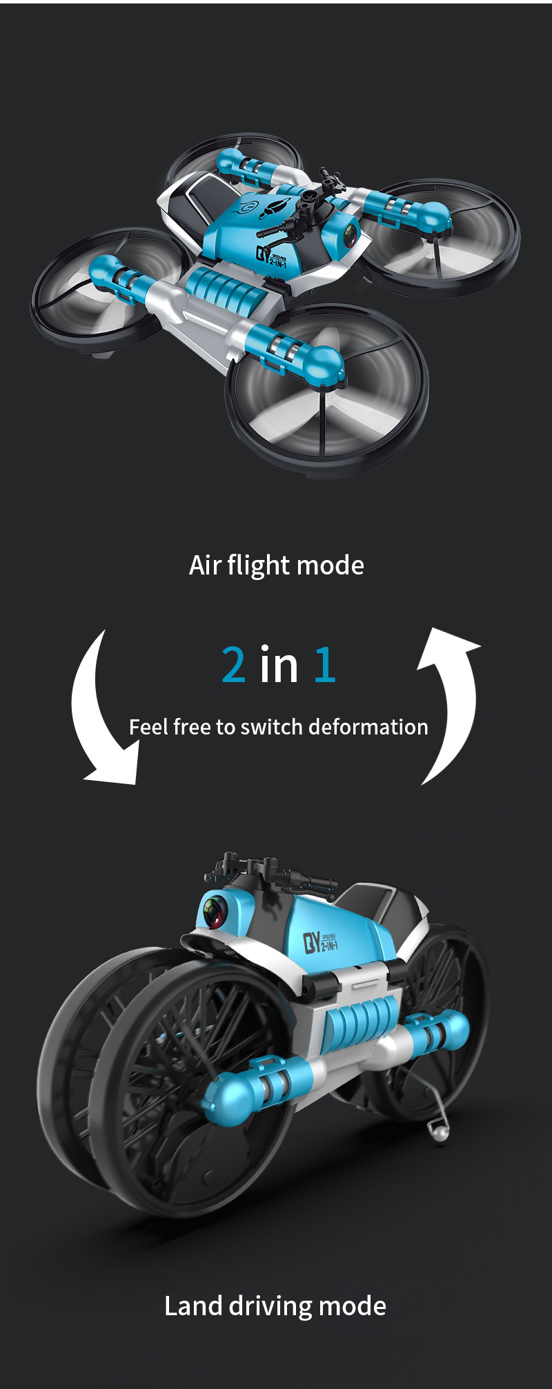 Drone Motorcycle 2 in 1 Foldable Helicopter