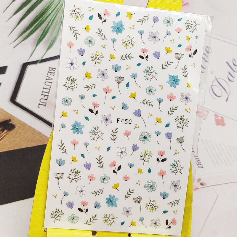 3D Nail Sticker Decals Flowers Bud Branch Design Nail Art Decorations Stickers Sliders Manicure Accessories Nails Decoraciones