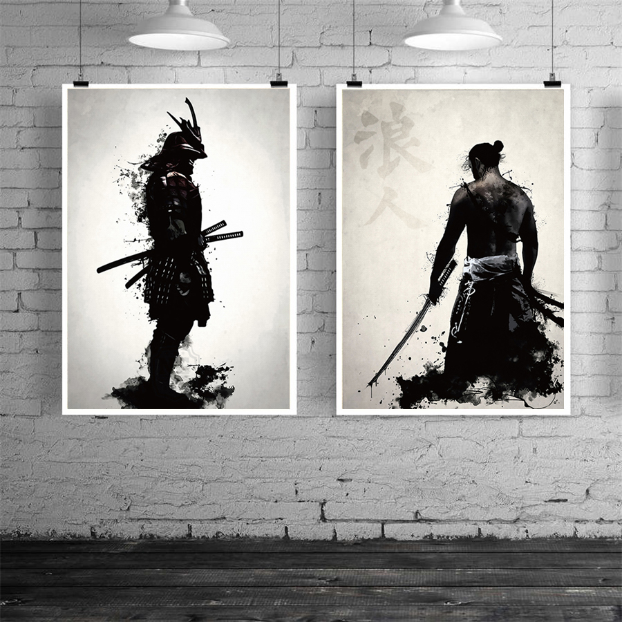 H0bfde90977fd4ce1842905acba009bcba Japanese Samurai Canvas Oil Painting Modern Wall Art Pictures Canvas Print For Living Room HD Home Decoration Posters And Prints