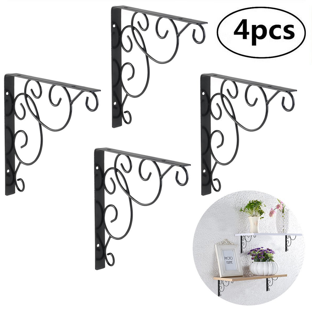 4PCS Iron Wall Book Mounted  Shelf Storage Rack Hanging Holder Organizer Rack Metal Flower Pot Tripod_WK