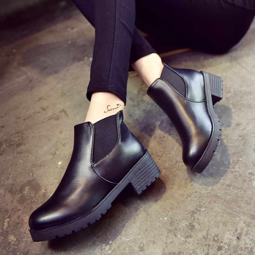 SAGACE kadın deri düşük düz blok topuk Chelsea ayak bileği kalın orta topuk yuvarlak siyah kısa Martin çizmeler ayakkabı #45