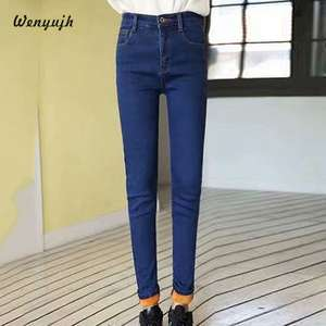 WENYUJH Jeans Women Trousers Winter Pants Stretch Skinny Velvet Denim High-Waist Plus-Size