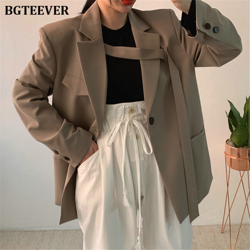 Fashion Loose Women Blazer Jacket Female One-button Suit Jacket Vintage Blazer Female Loose Coat Streetwear 2019 Autumn