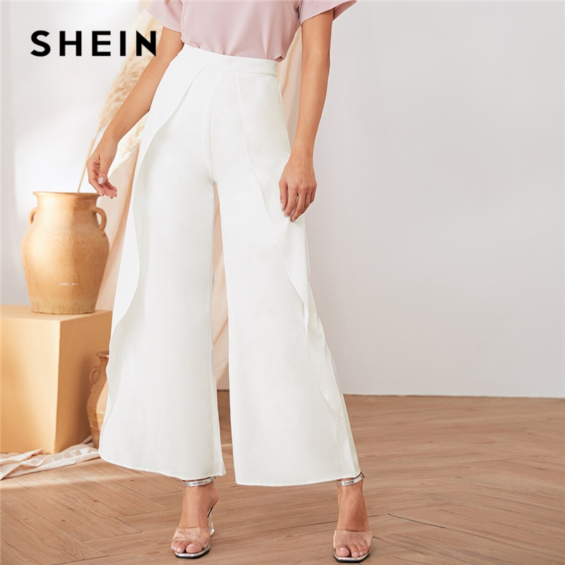 SHEIN White Solid Elastic Waist Casual Loose Long Pants Women Bottoms 2019 Autumn Wide Leg Ruffle Trousers For Office Ladies