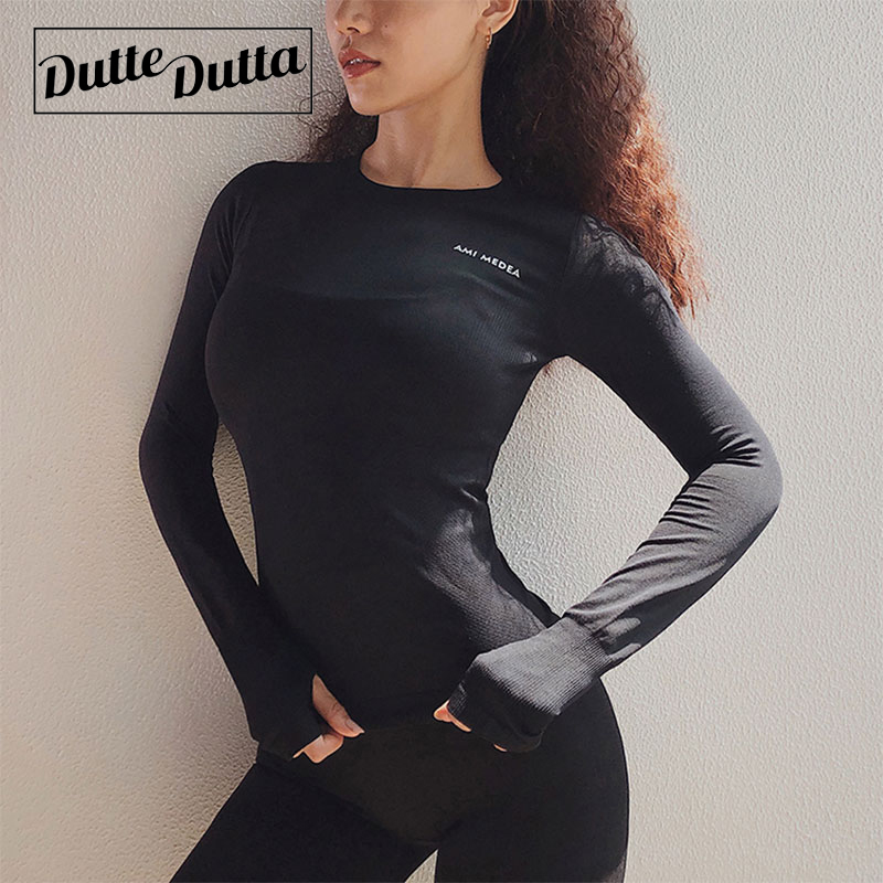 Women Sport Top Yoga Tops Long Sleeve Slim Fitness T Shirt Workout With Thumb Holes Sport Tees Running Fitness For Woman