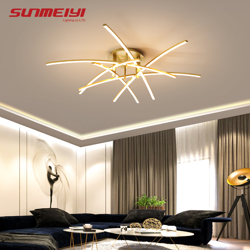 Modern Ceiling Lights Dimmable LED Ceiling Lamp Fixture Kitchen Dining Bedroom Living Room Light Aluminum Gold Plafonnier Led