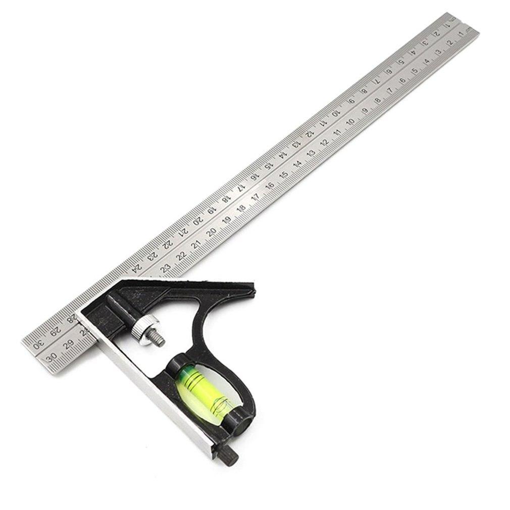 300Mm מתכוונן שילוב כיכר זווית שליט 45/90 תואר עם רמת בועה רב תכליתי מד מדידת כלים