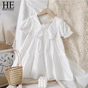 HE Hello Enjoy Summer Dresses Girls Fashion White Dress Kids Lace Floral Dresses Cotton Children Clothing Lace Floral Dresses