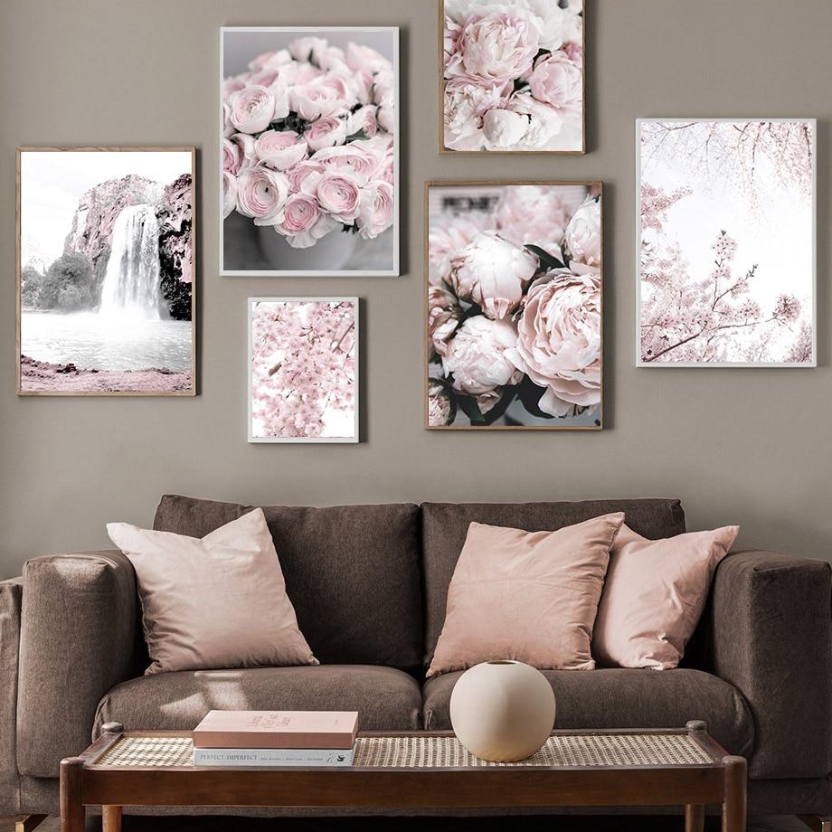 Цветок вишни Пион Роза горный Nordic Плакаты и декоративное настенное Искусство Рисунок холст картины Настенная картина для Декор в гостиную