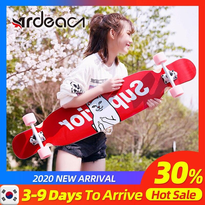 ADREA Skateboard Longboard Adult Children Girl 107cm/42in Skate Aluminium Truck Maple Deck Patins Grip Tape Russina Maple Wood