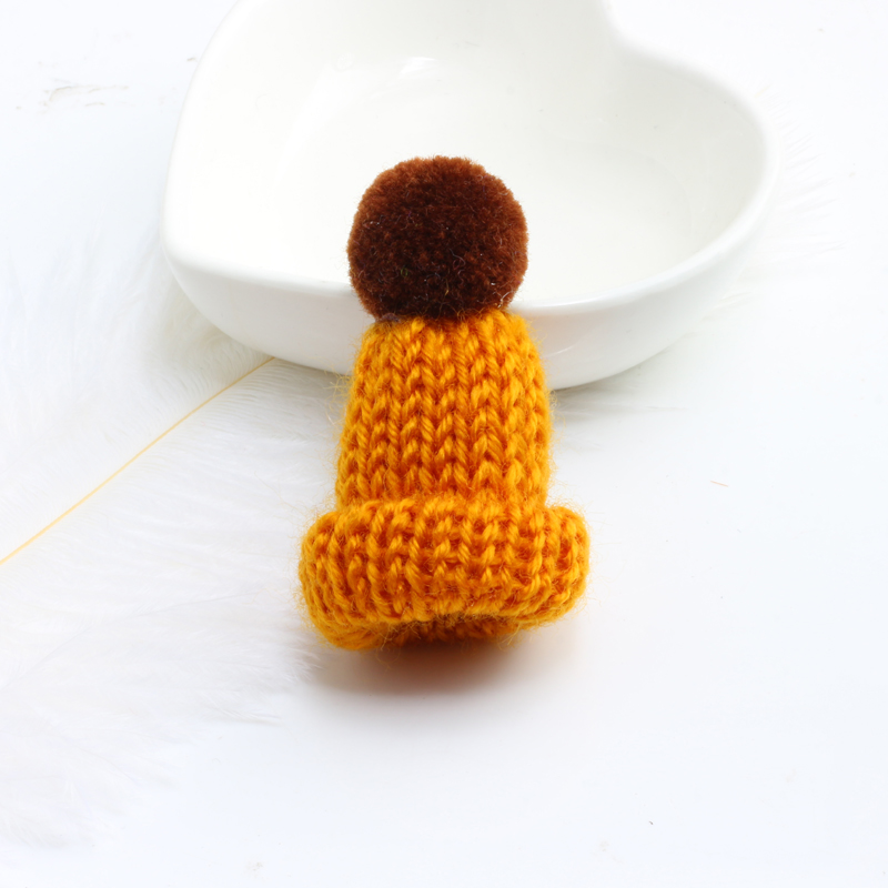 Нагрудные булавки брошь для женщин Милая Мини вязанная Hairball брошь «шляпа» булавка для свитера куртки значок ювелирные изделия шерстяной шар DIY подарок для женщин и девочек - Окраска металла: dark orange