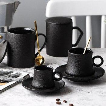 Taza De Café De Cerámica Simple negro y platillo hueso China té...
