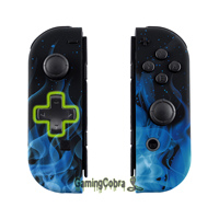 Blue Flame Soft Touch Controller Housing (D Pad Version) w/ Full Set Buttons Replacement Shell Case for Nintendo Switch Joy Con
