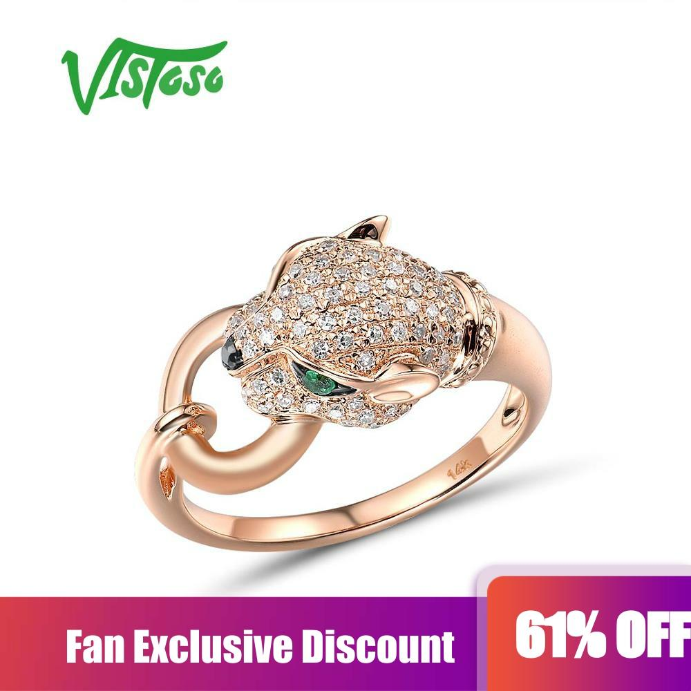 VISTOSO Gold Rings For Women Genuine 14K 585 Rose Gold Leopar Ring Emerald Sparkling Diamond Engagement Anniversary Fine Jewelry