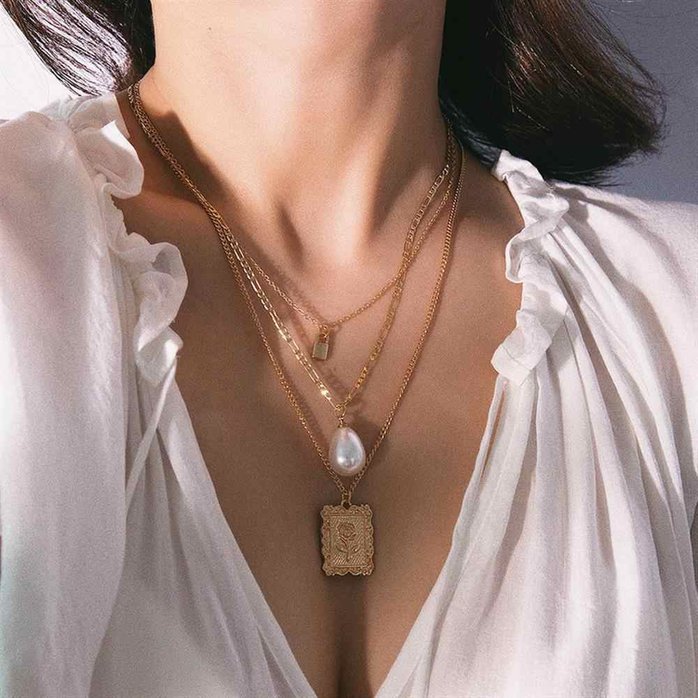 Vintage Metal Rose Flower lock Girls wielowarstwowy naszyjnik z pereł duży Choker geometryczny Pendientes Square Ladies Women Jewelry