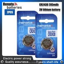2 pc/lote renata 100% original cr2430 cr 2430 3v baterias da moeda da pilha do botão de lítio para relógios, relógios, aparelhos auditivos